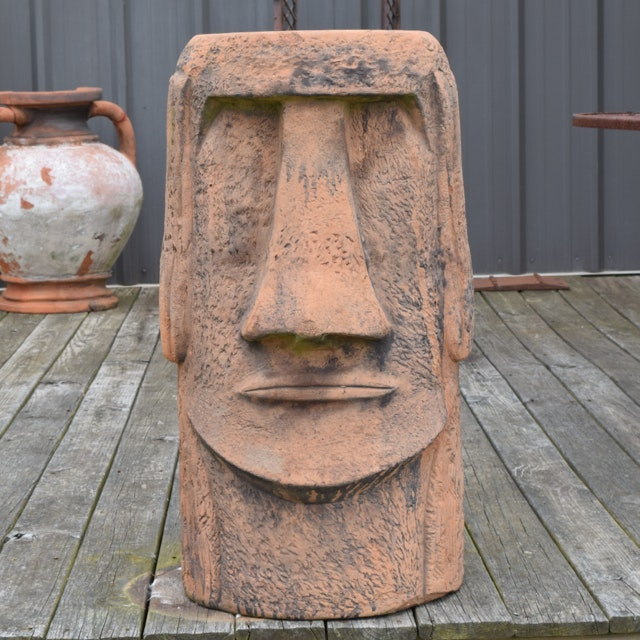 Easter Island Style Terracotta Totem Sculpture