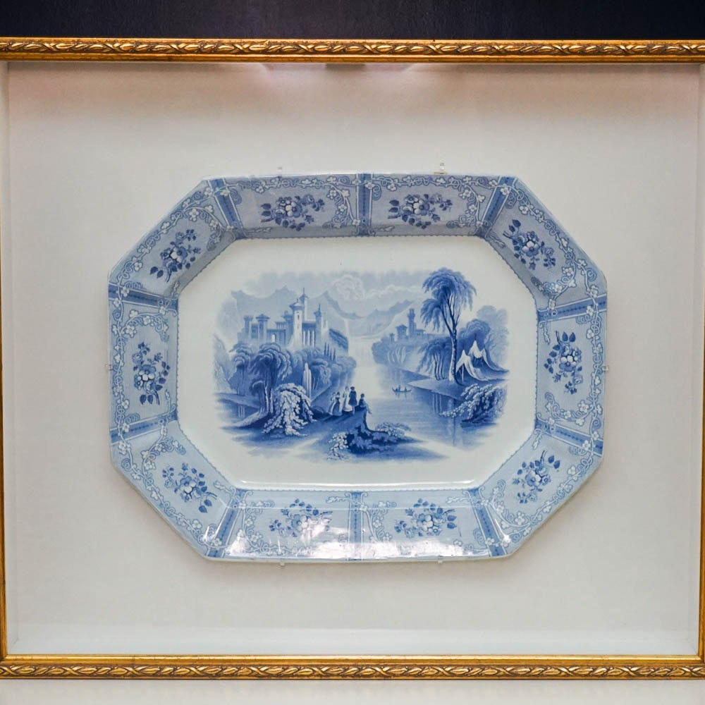 "J. Heath ""Lake Ontario"" Transferware Platter Within a Shadowbox Frame"
