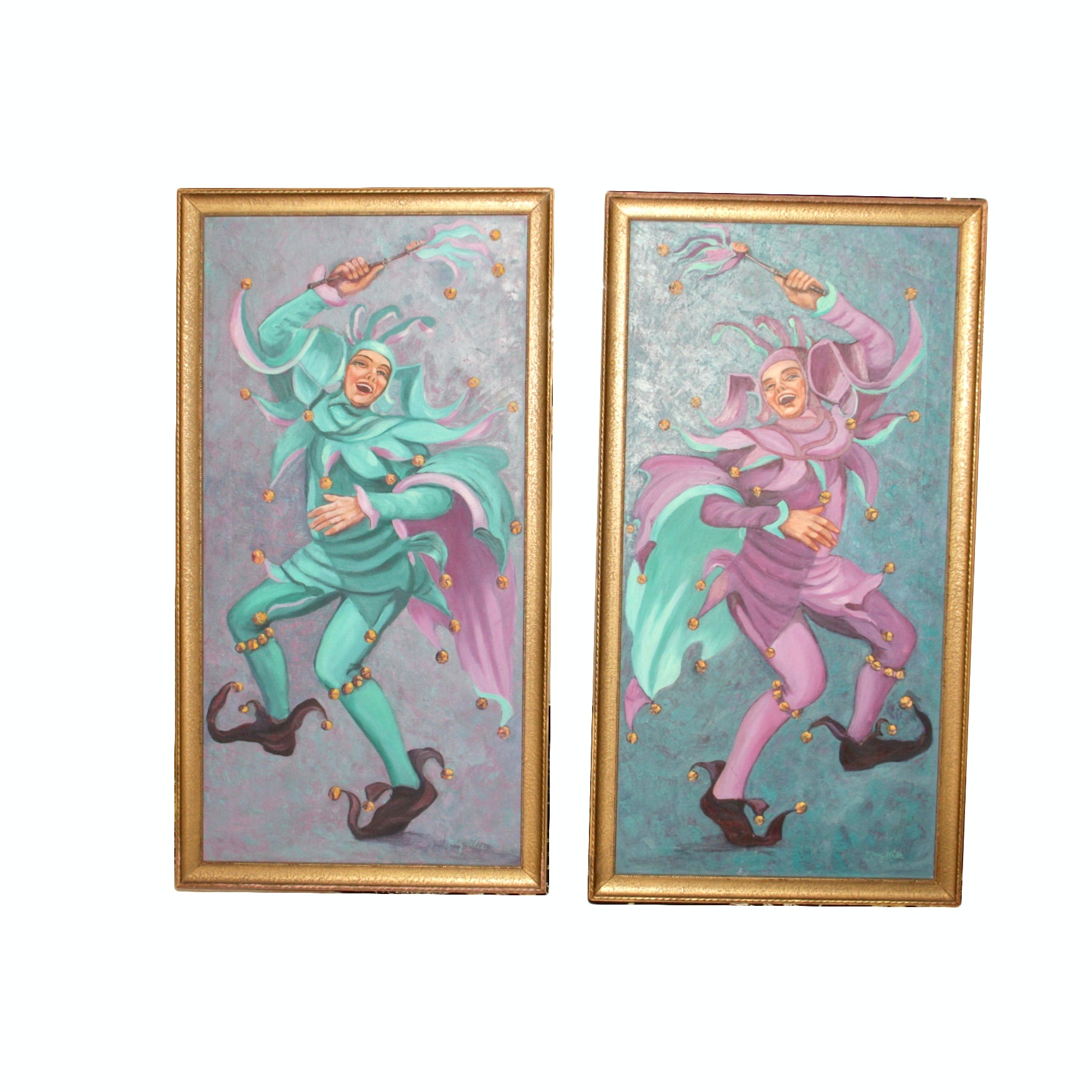 Framed Acrylic on Canvas Paintings of Jesters by Mary Mills