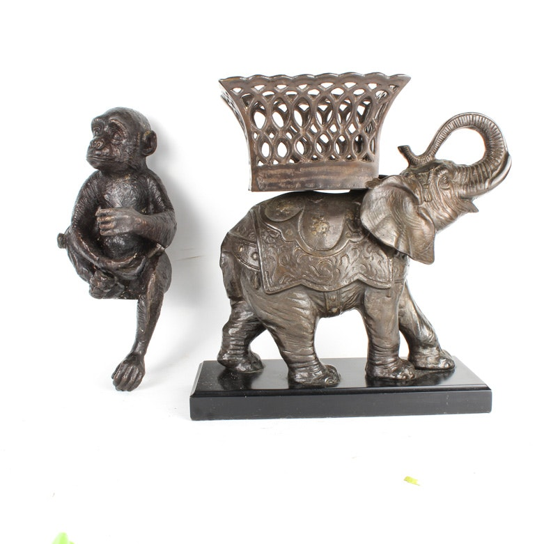 Bronze Elephant Planter and Monkey Figurine