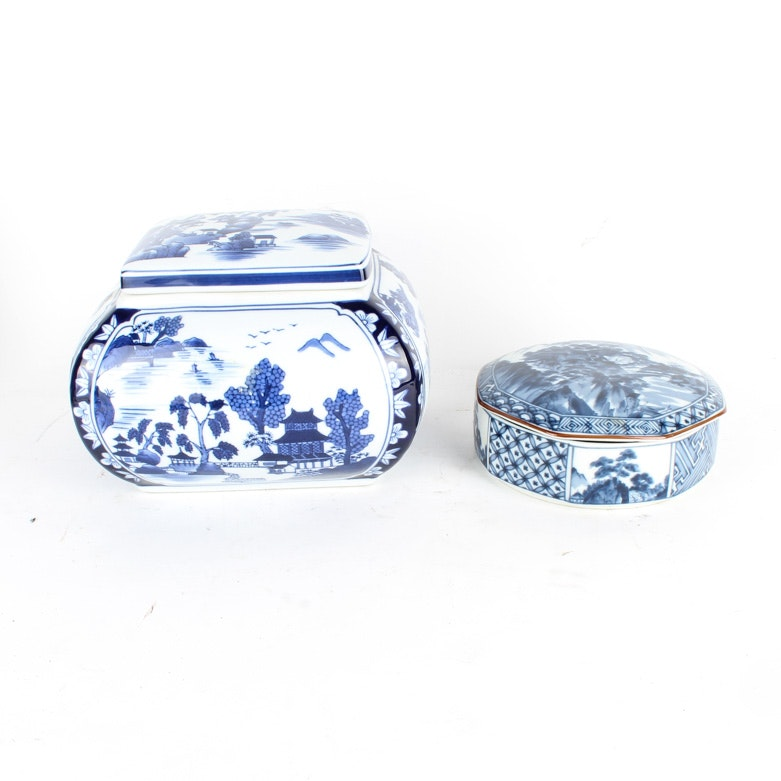 Tiffany & Co. and Bombay Blue and White Porcelain Trinket Boxes
