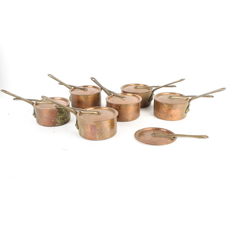 Set of Vintage French Copper Pots