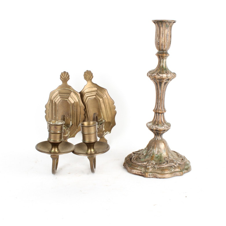 Collection of Vintage Ornate Brass Candle Holders
