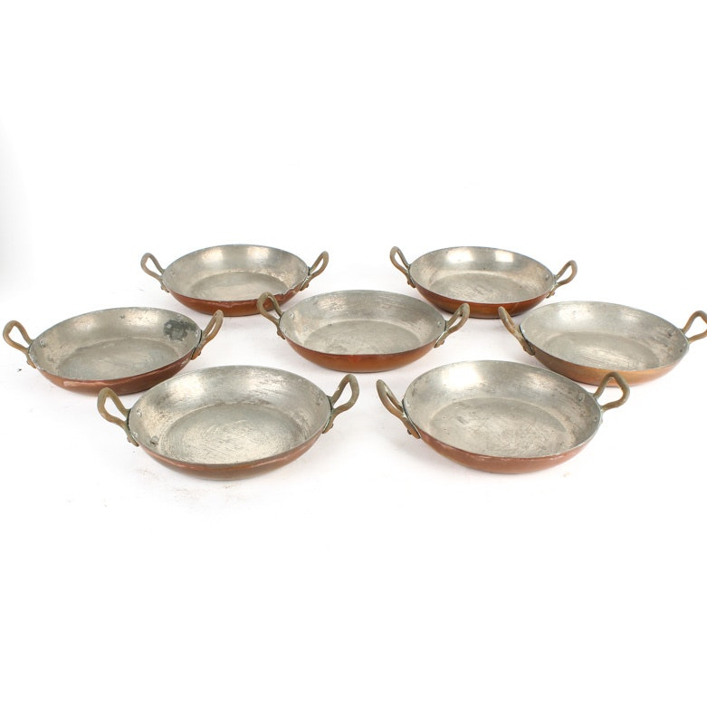 Set of Vintage French Copper Double-Handled Pans