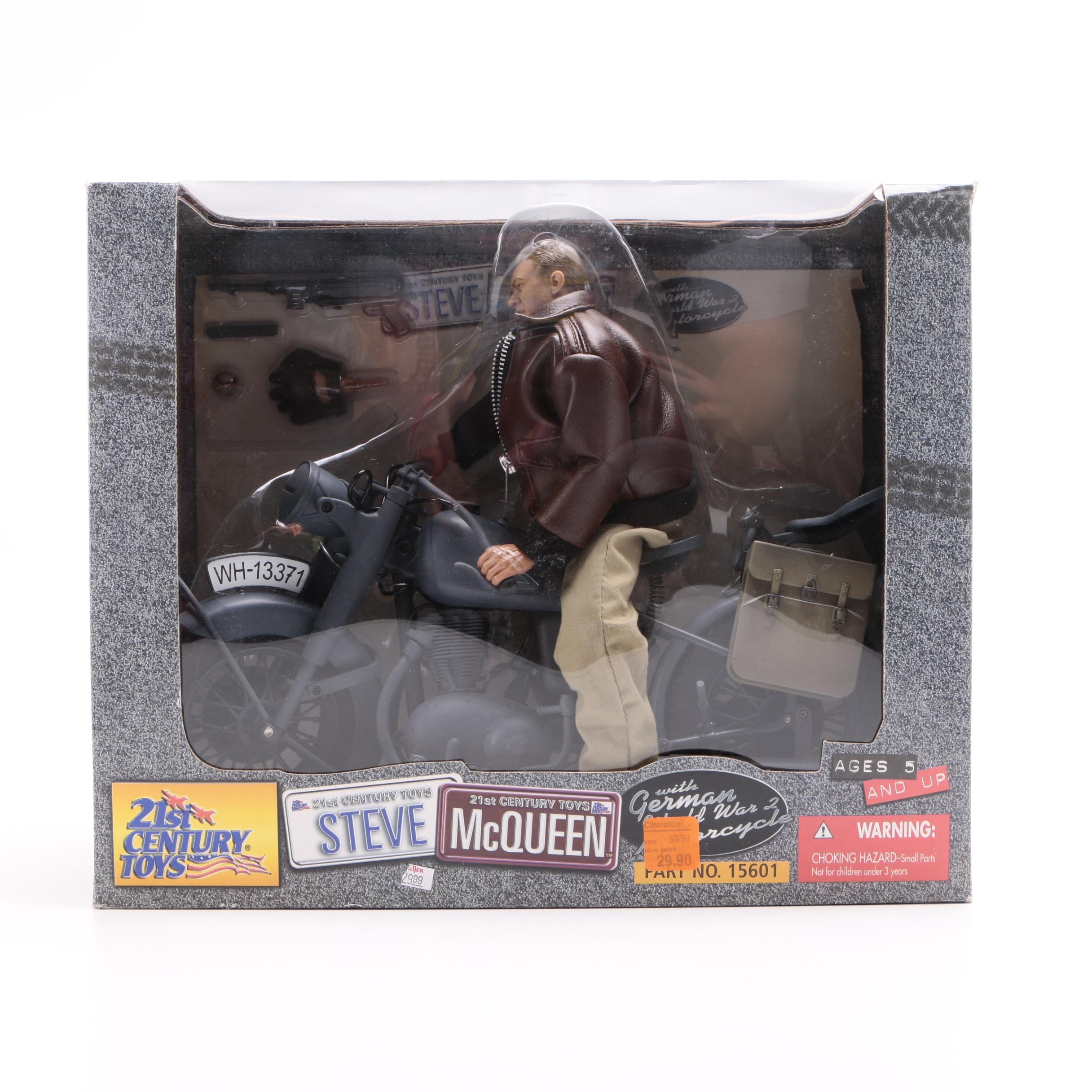 Steve McQueen Action Figure with Motorcycle by 21st Century Toys
