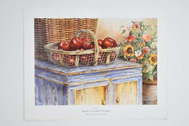 """Offset Lithograph of """"Apple Orchard Bounty"""" after Emily James"""