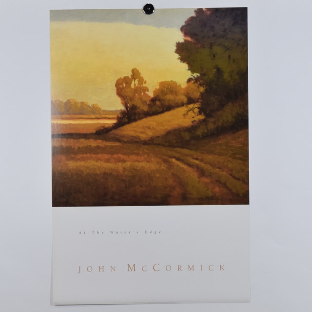"Offset Lithograph of ""At the Water's Edge"" by John McCormick of a Sunlit Landscape"