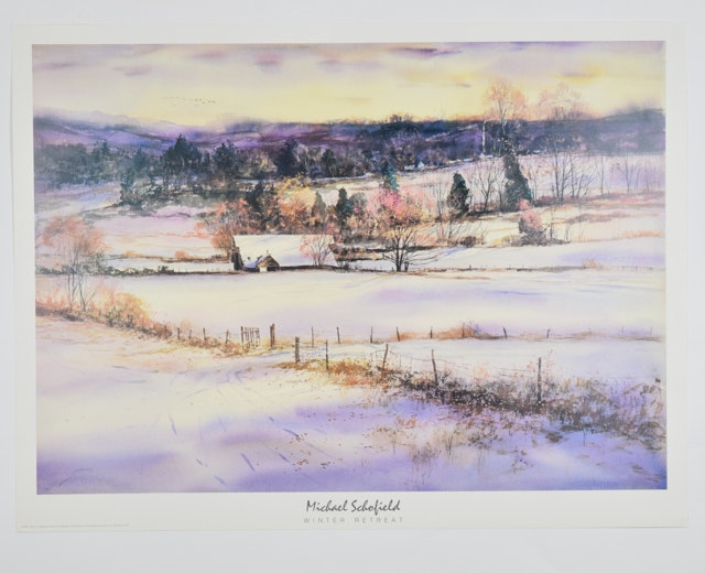 "Offset Lithograph of ""Winter Retreat"" by Michael Schofield"