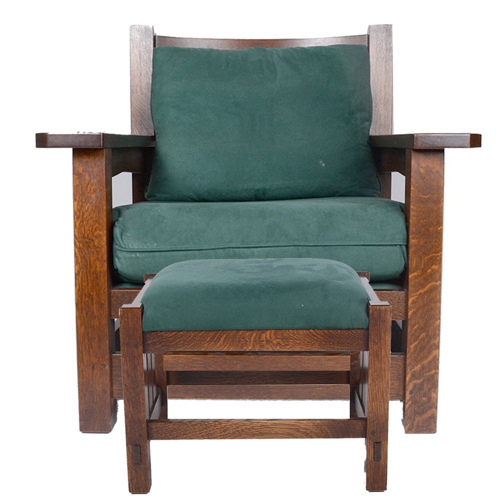 "Crafstman Style ""Eastwood"" Chair and Ottoman from Stickley"