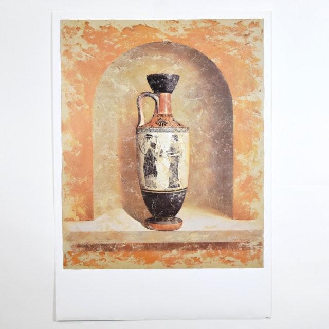 Offset Lithograph of a Still Life Featuring a Classical Ewer