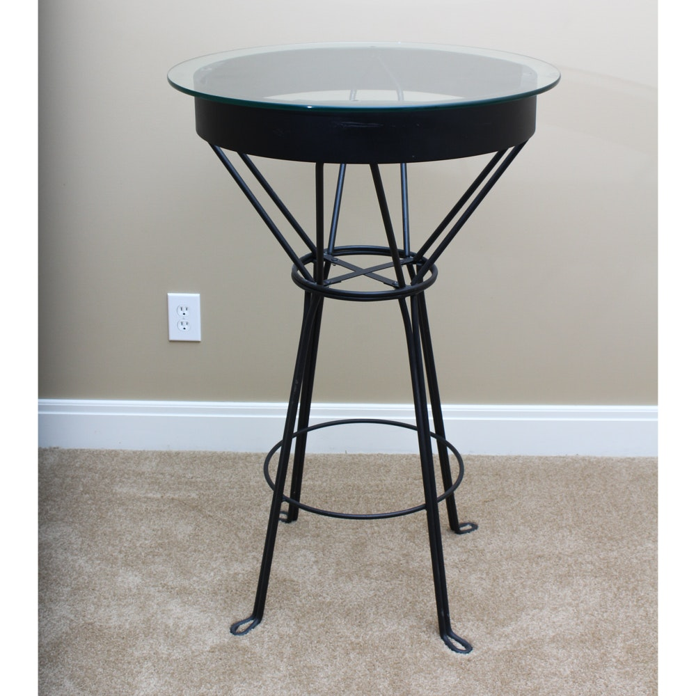 Glass And Wrought Iron Bar Table ...