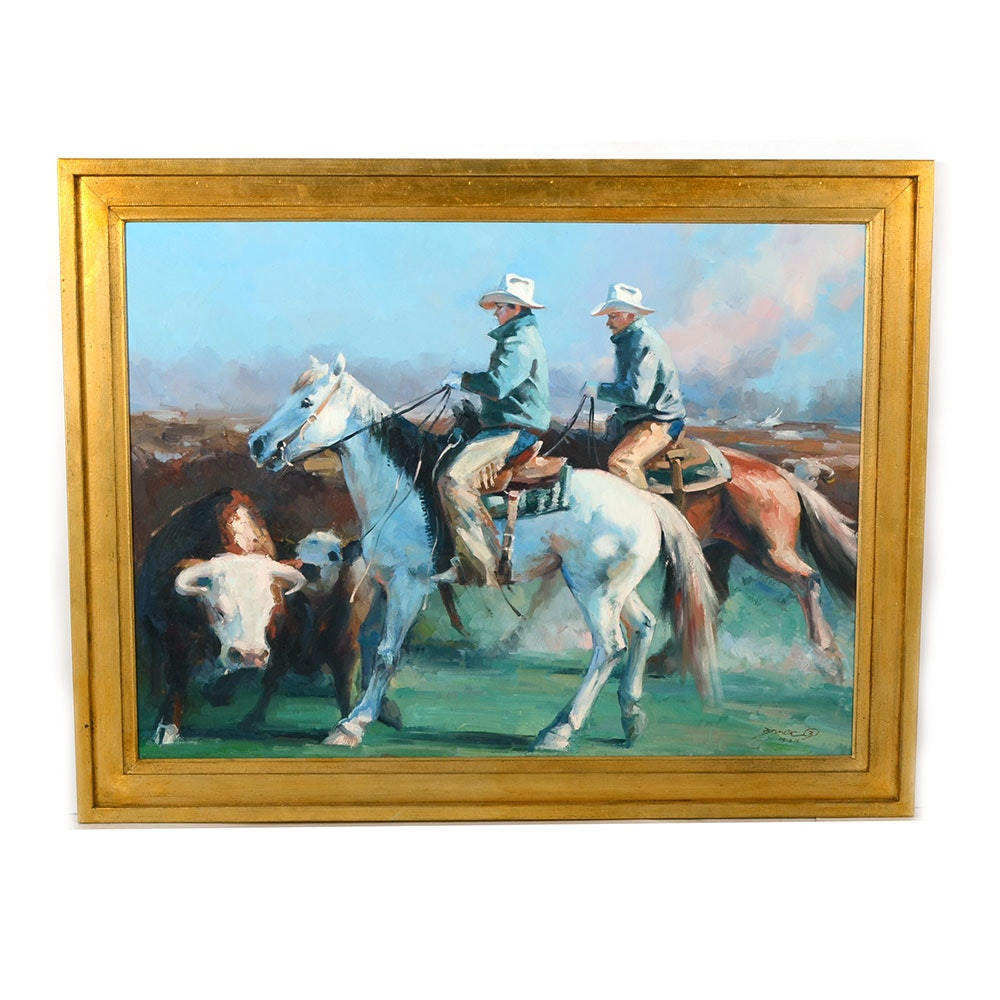 Original Large Western-Themed Oil Painting on Canvasa