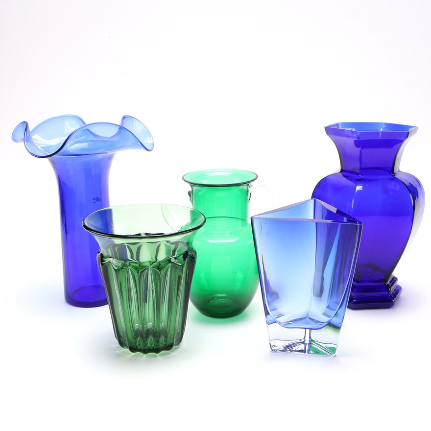 Assorted Crystal And Glass Vases Ebth