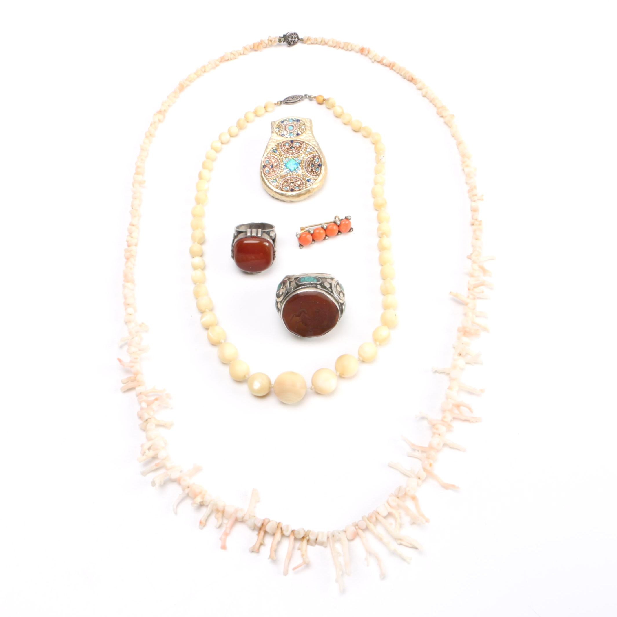 Sterling Silver Jewelry Assortment Including a Coral Necklace