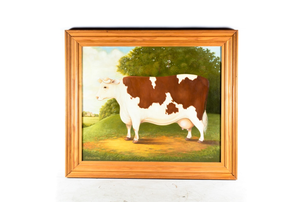 Acrylic Painting on Canvas of a Cow