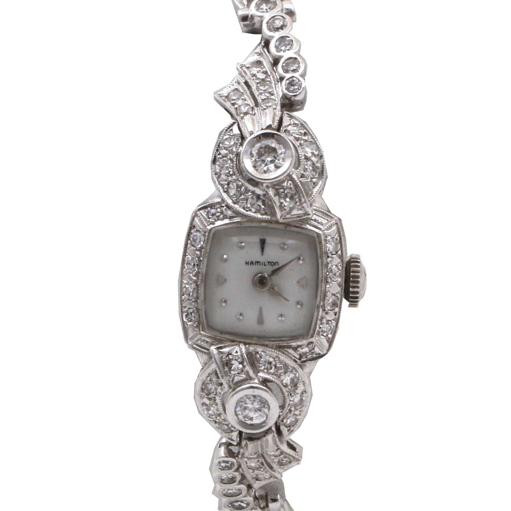 Hamilton 14K White Gold and 1.49 CTW Diamond Bracelet Wristwatch