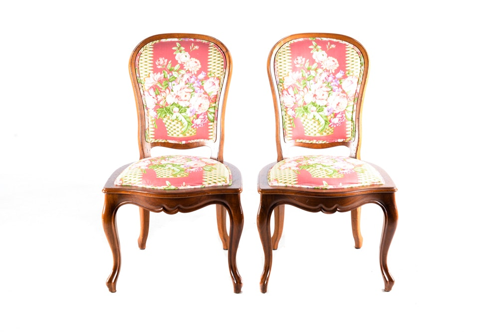 Pair of Floral Upholstered Accent Chairs