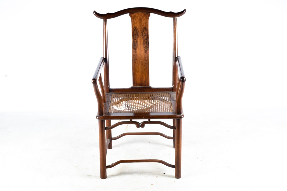 Antique Chinese Yokeback Mahogany Armchair