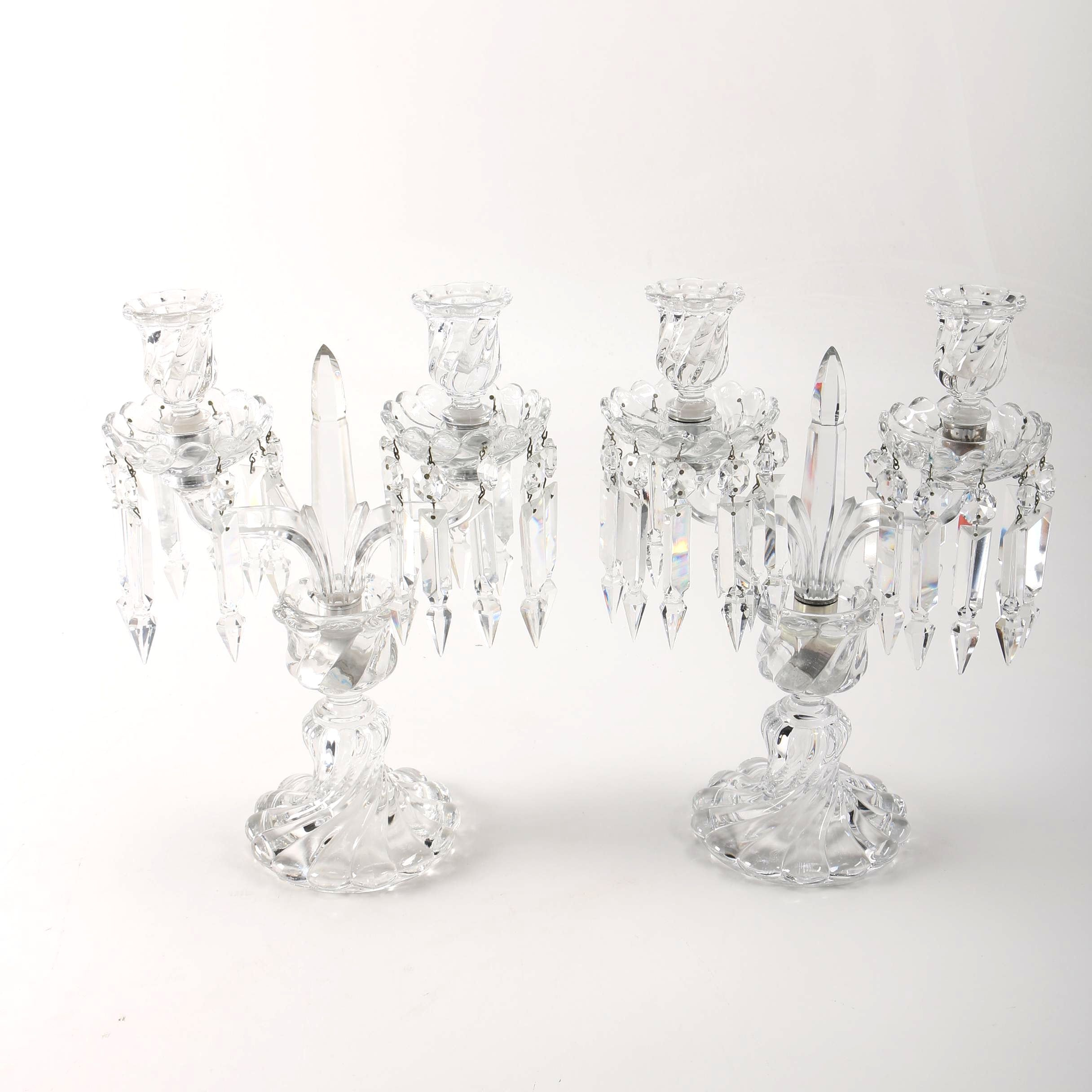 Pair of Baccarat Crystal Candelabras