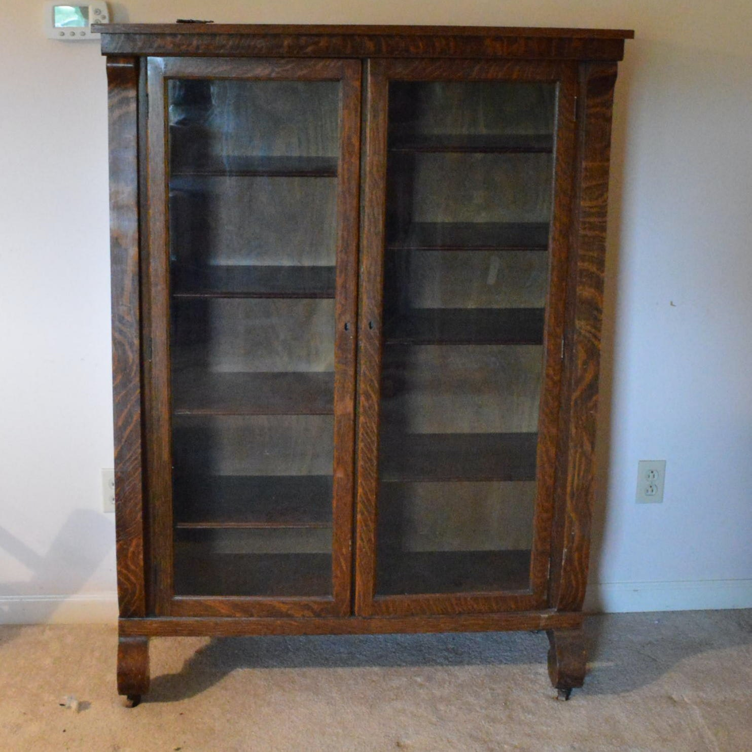 Antique Oak Federal Style Glass Front Cabinet