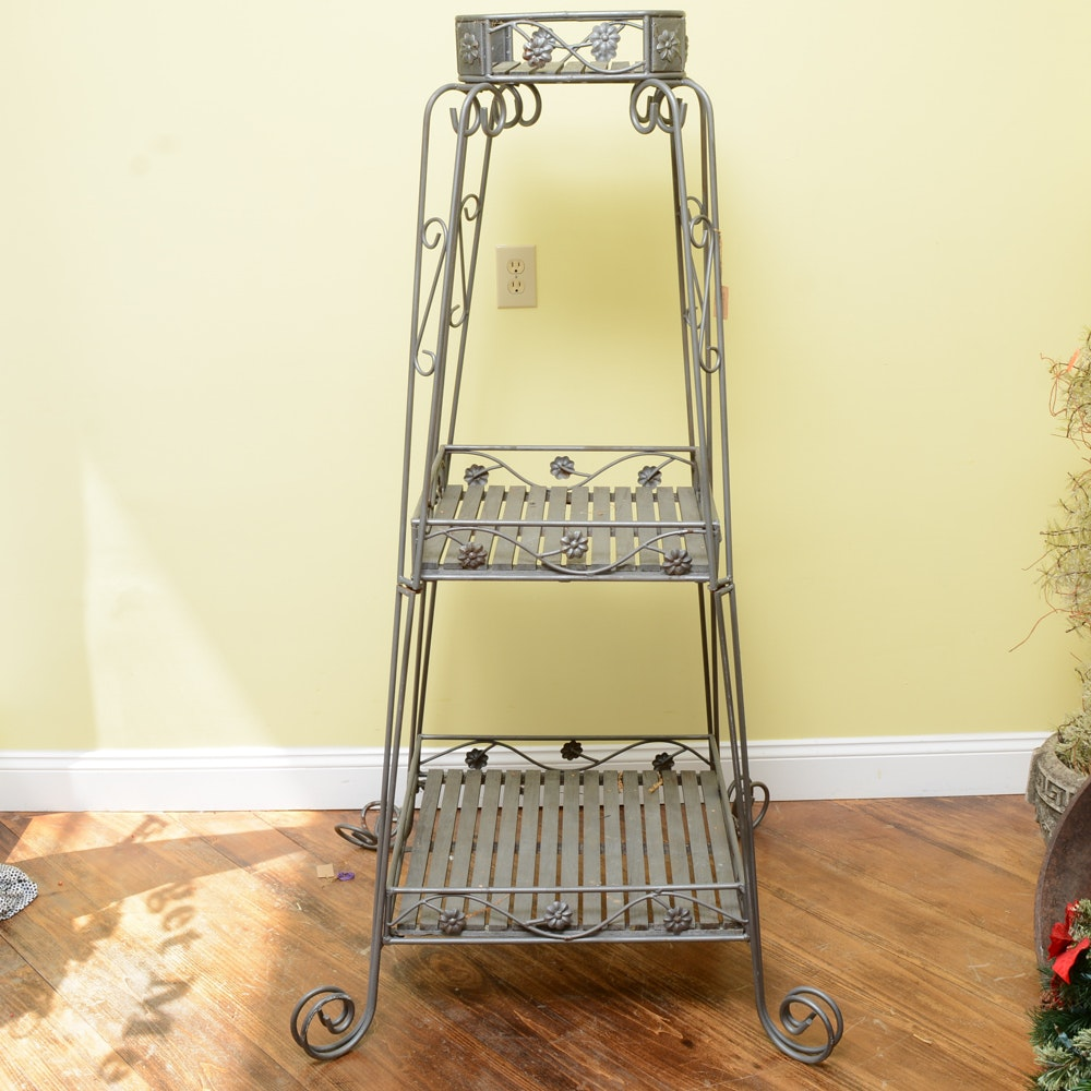 Wrought Iron 3-Tier Plant Stand