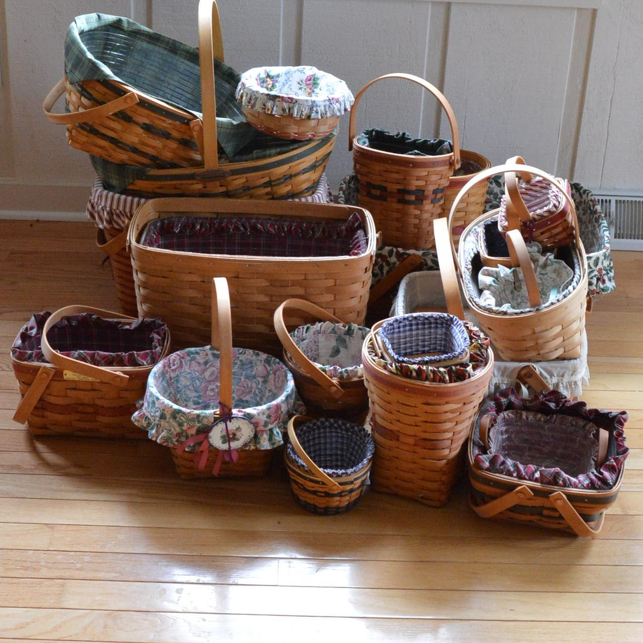 Longaberger Baskets with Fabric Liners