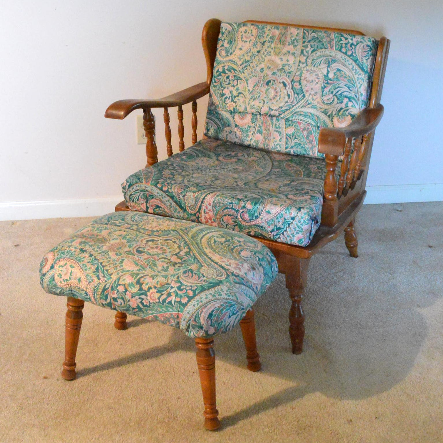 Vintage Armchair and Ottoman With Paisley Upholstery