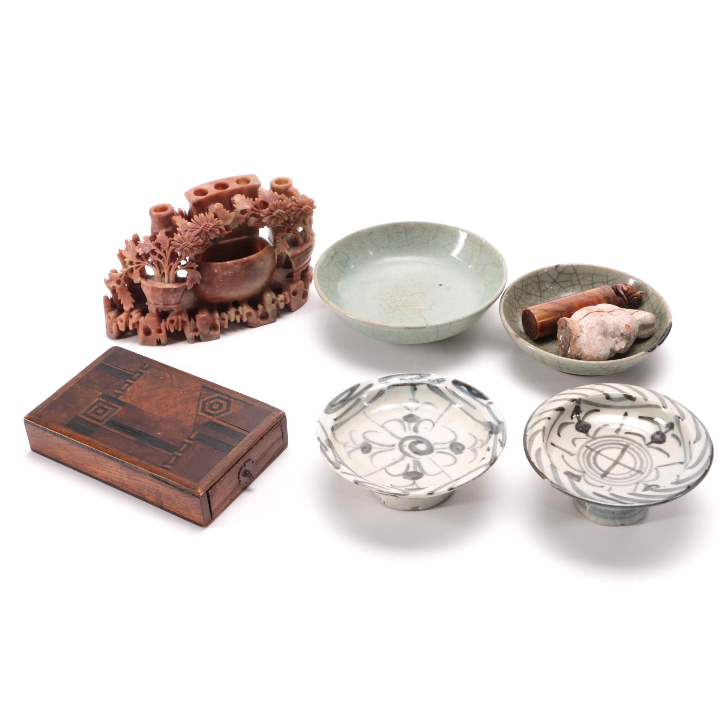 Antique Chinese Stoneware Bowls and Japanese Wooden Box and Other Asian Decor