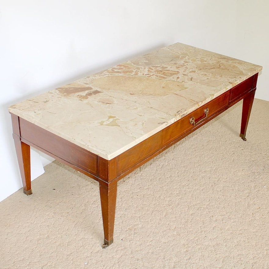 Vintage Marble Top Coffee Table On Casters