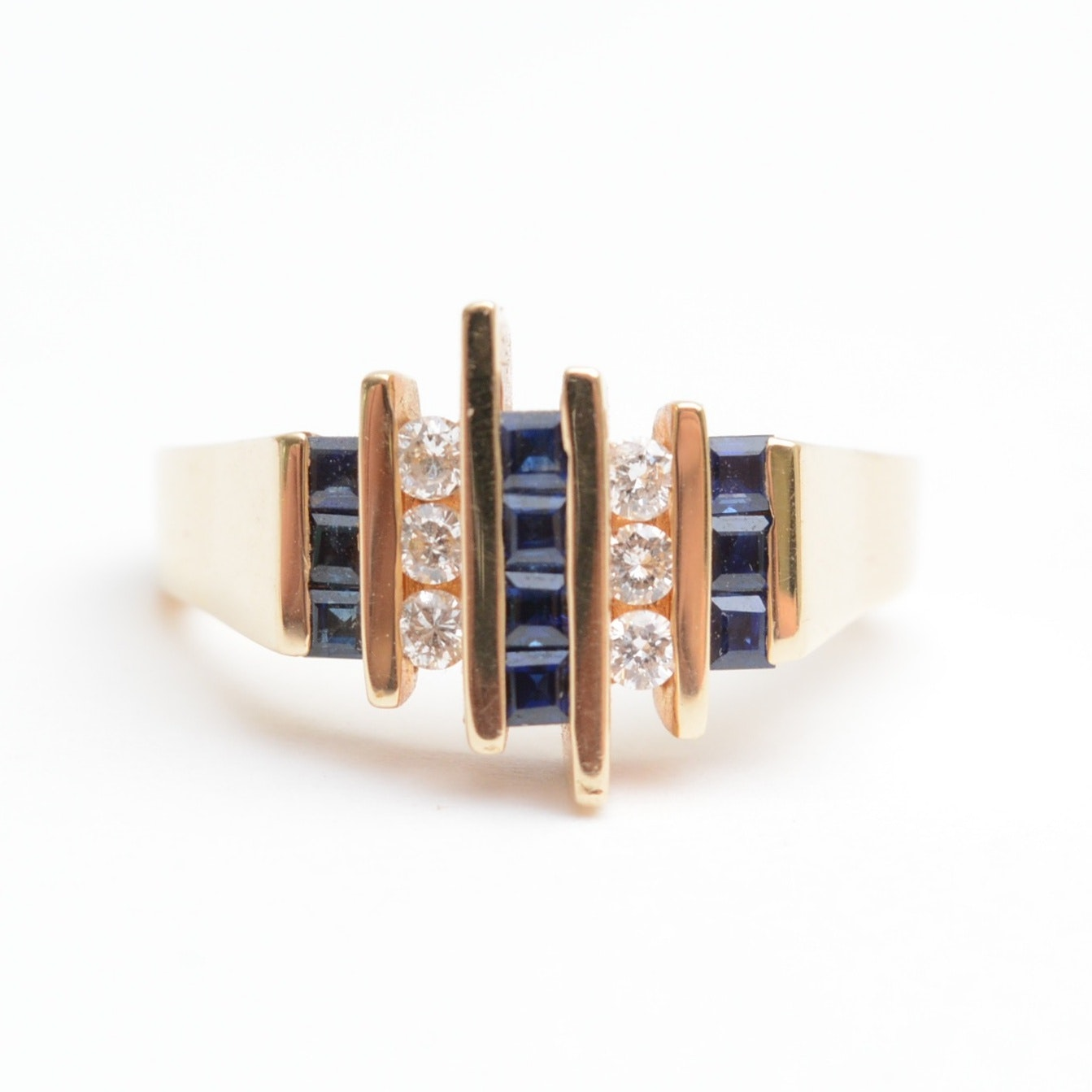 14K Yellow Gold and Sapphire Ring