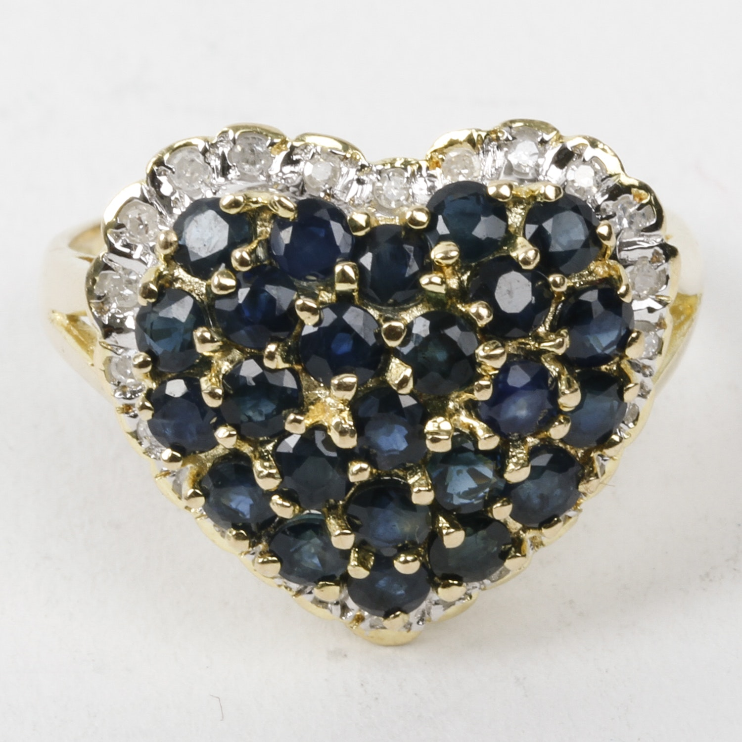 14K Yellow Gold, Sapphire, and Diamond Heart Cocktail Ring