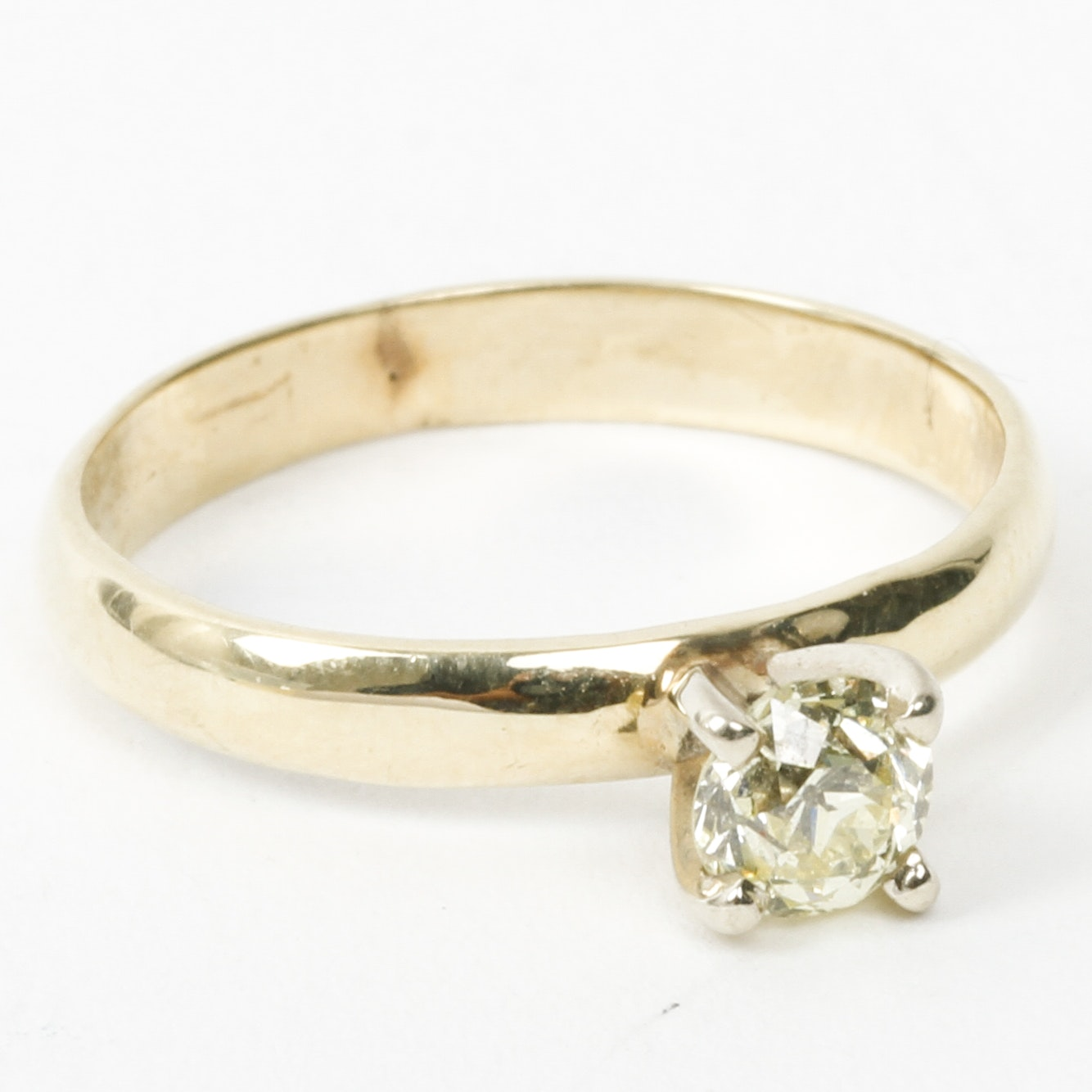 Vintage 14K Yellow Gold and Old European Cut Diamond Solitaire Ring