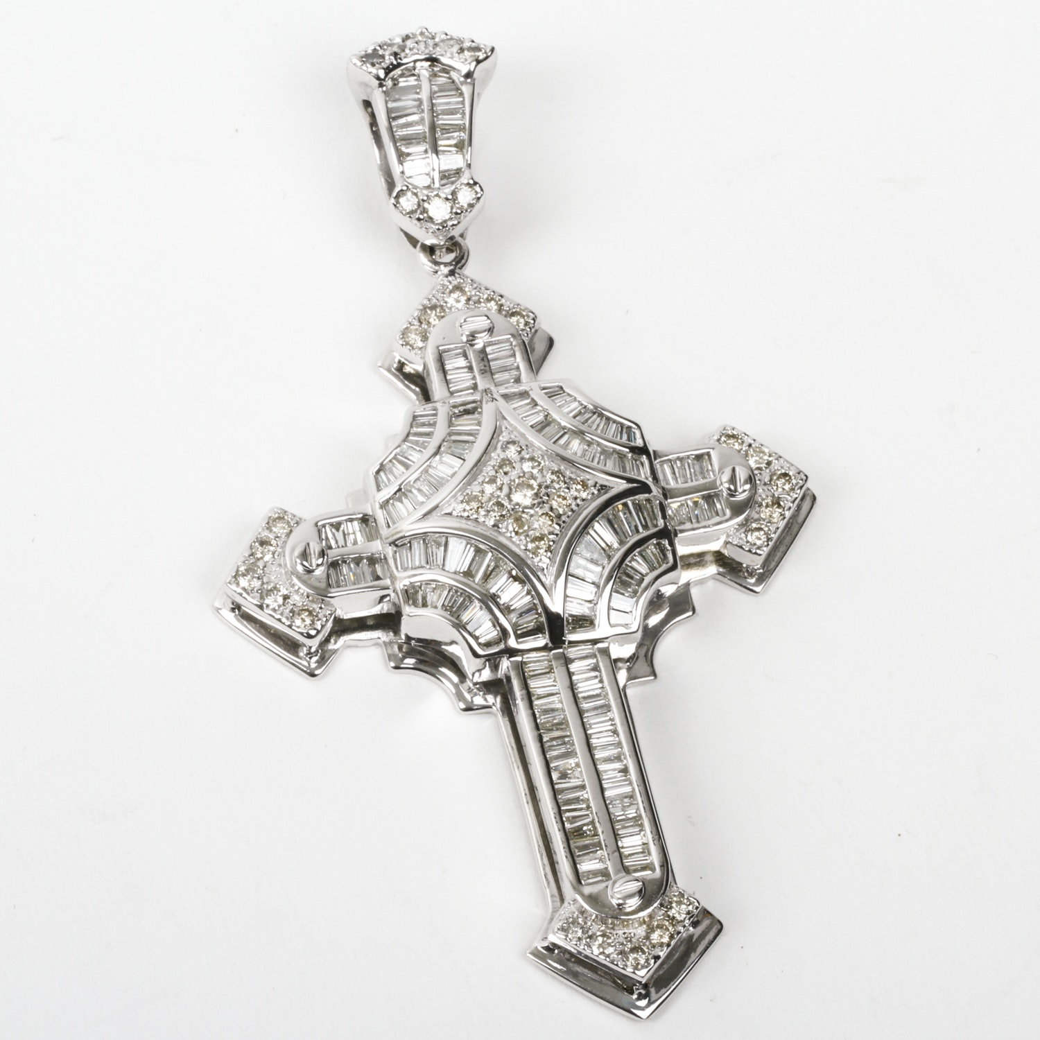 Ornate 14K White Gold and 7.15 CTW Diamond Cross Pendant