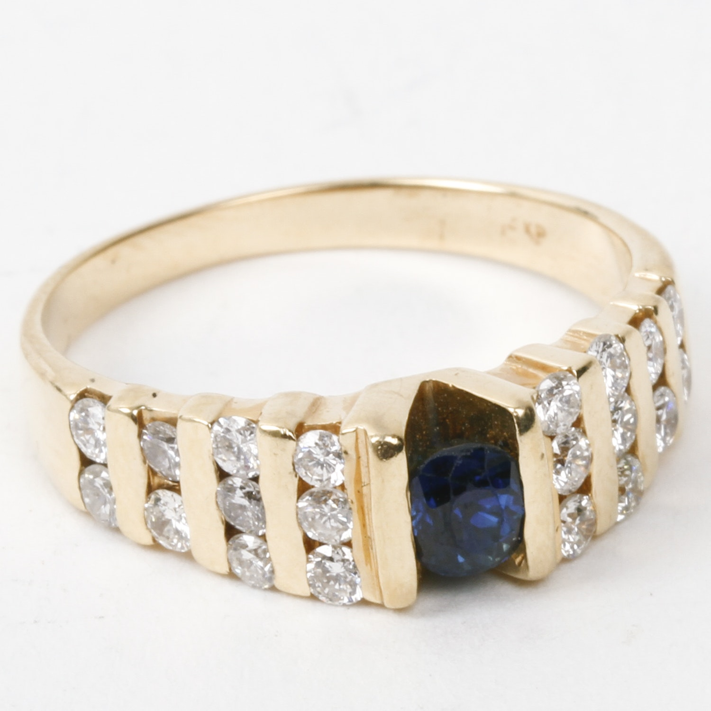 14K Yellow Gold, Sapphire, and Diamond Ring