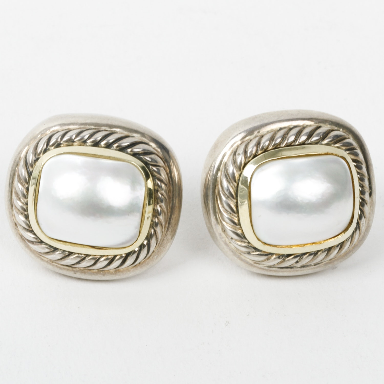 David Yurman Mother of Pearl, Sterling Silver, and 14K Yellow Gold Earrings