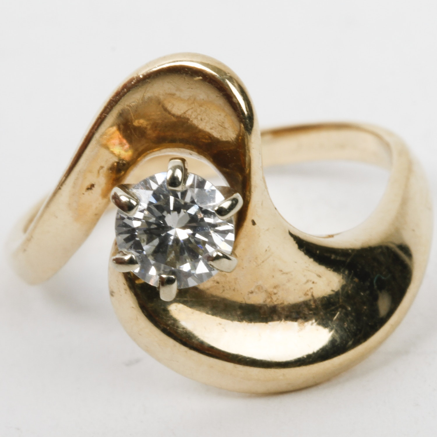14K Yellow Gold and Diamond Solitaire Bypass Ring