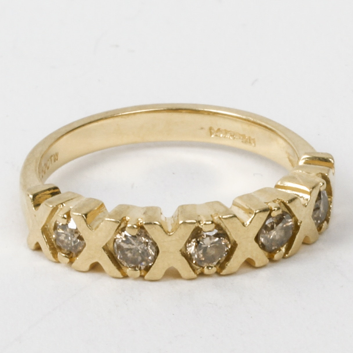 """14K Yellow Gold and Diamond """"X"""" and """"O"""" Band"""