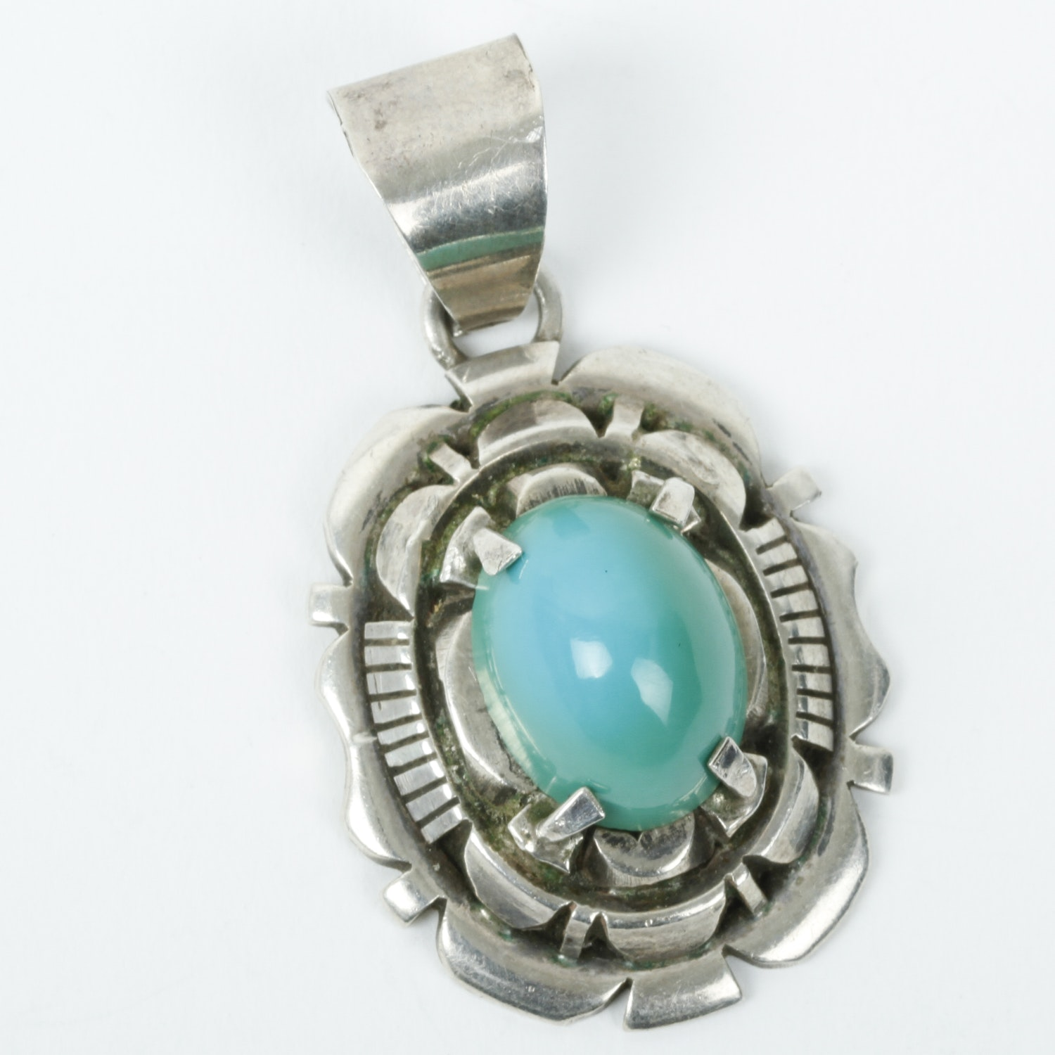 Robert Kelly Navajo Sterling Silver and Turquoise Pendant
