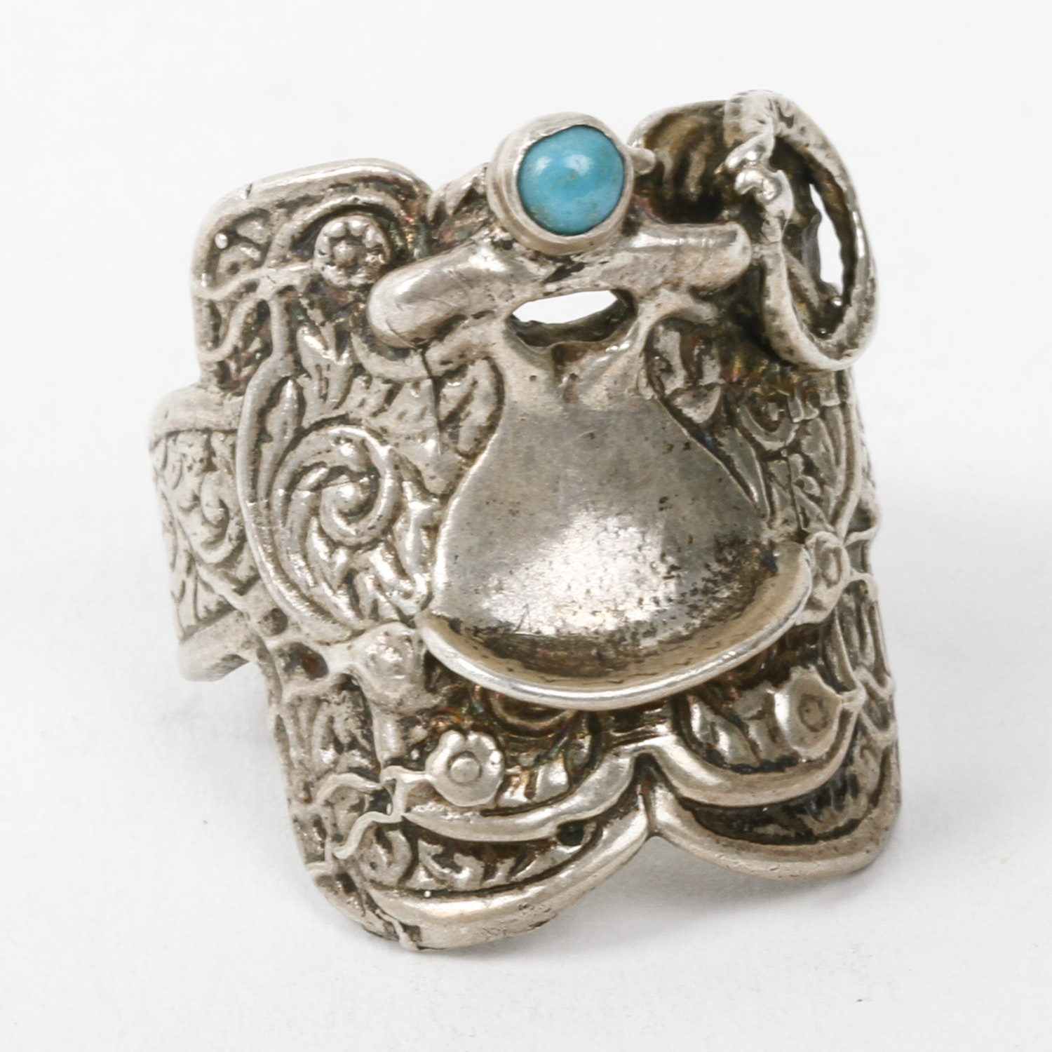 Sterling Silver and Turquoise Saddle Ring