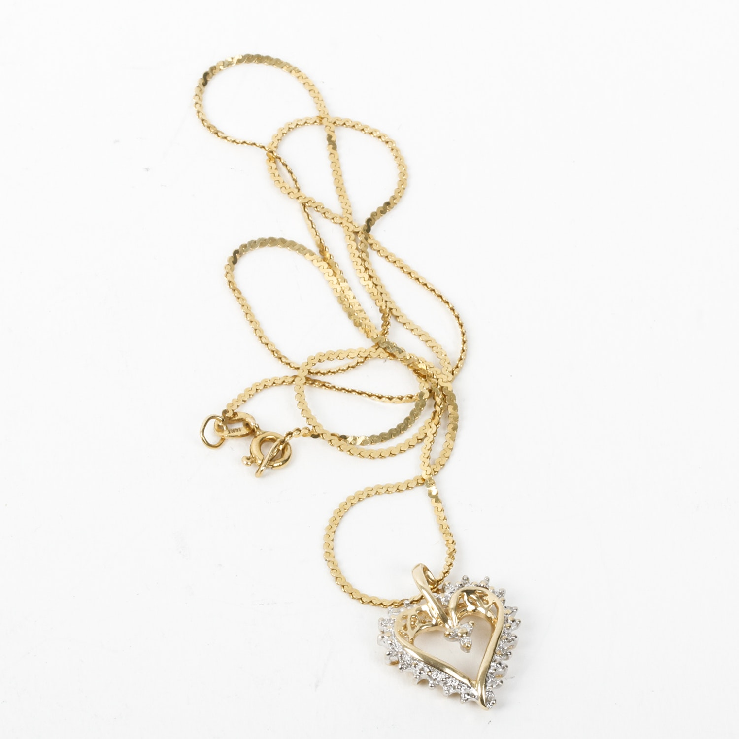 10K Yellow Gold and Diamond Open Heart Pendant with 14K Serpentine Chain