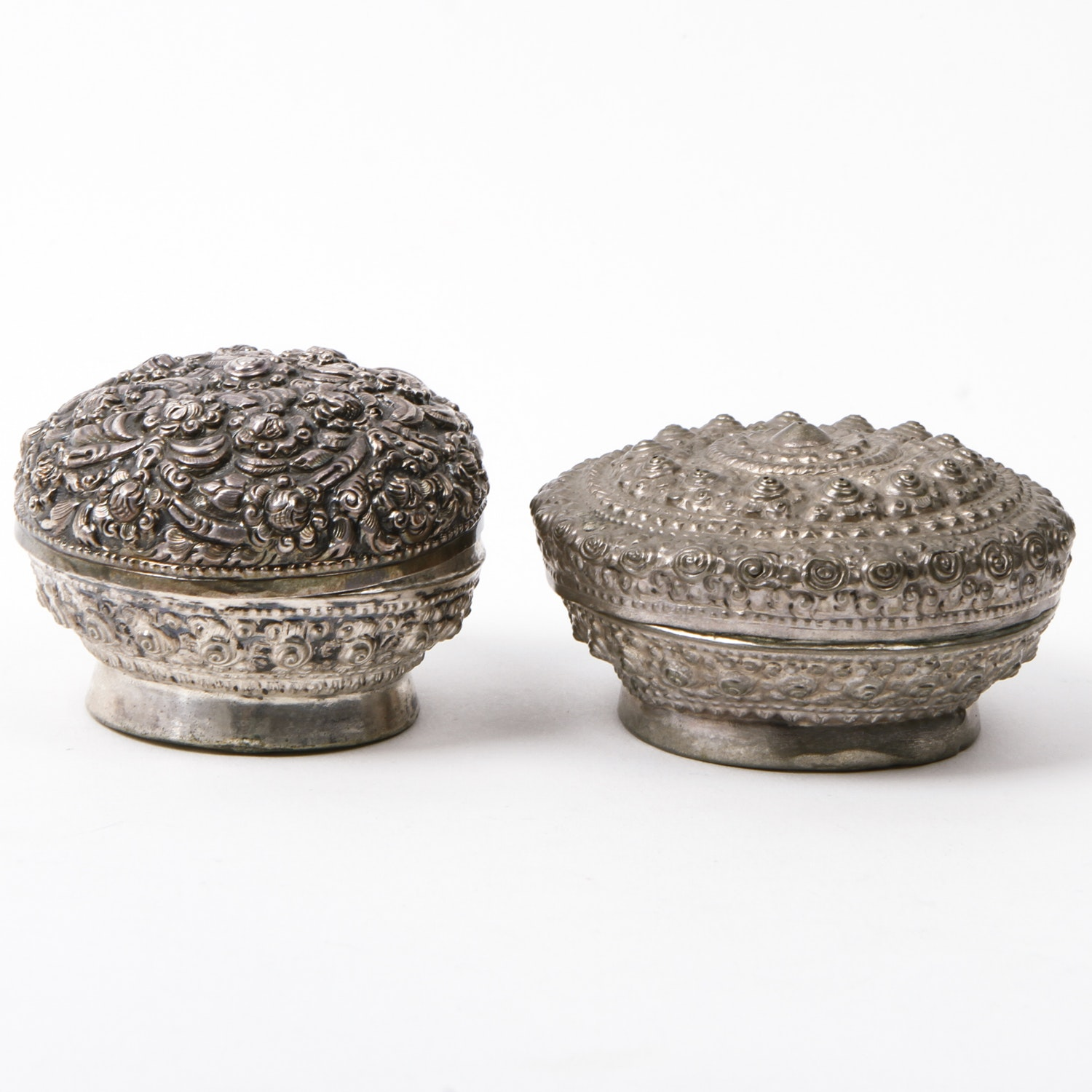 Two Antique Repoussé Sterling Silver Trinket Boxes