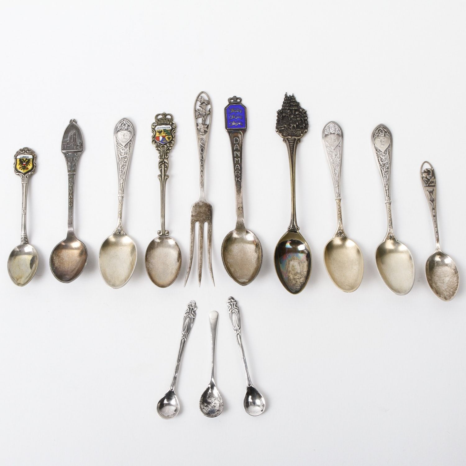 Vintage and Antique Nordic Sterling and 800 Silver Souvenir Spoons