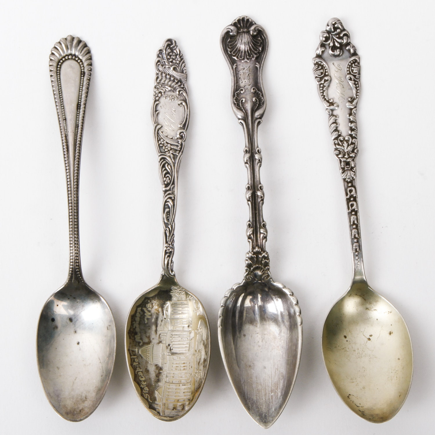 Four Antique Sterling Silver Demitasse Spoons