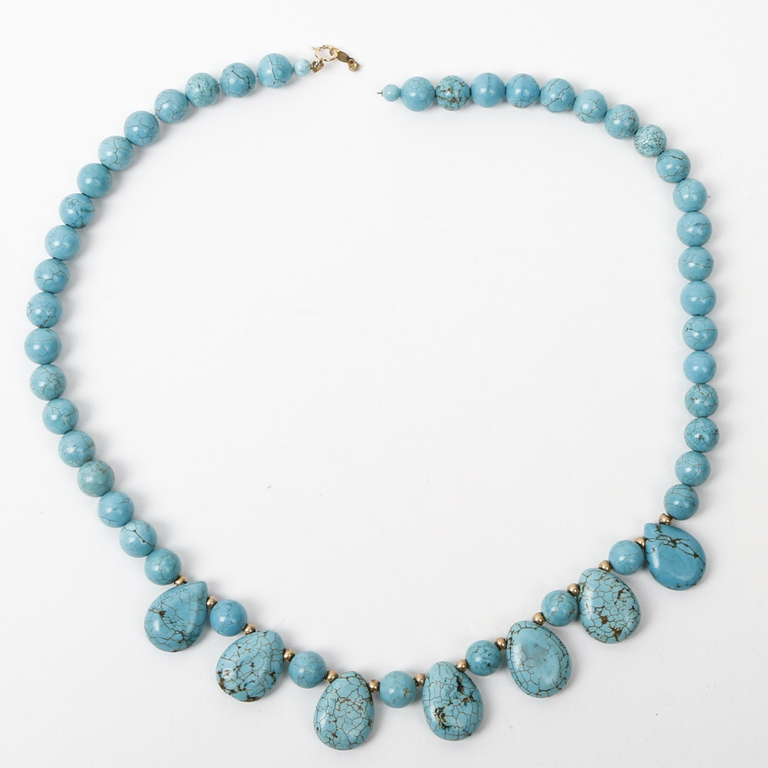 14K Yellow Gold and Dyed Howlite Beaded Necklace