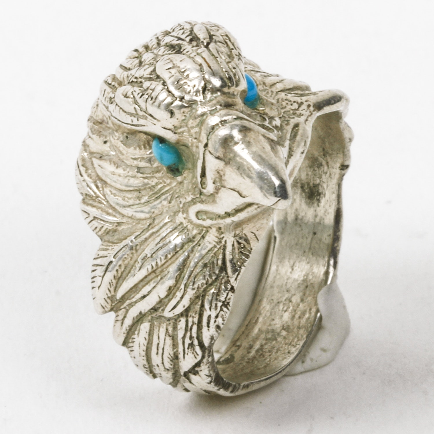 Sterling Silver Carved Eagle Head and Turquoise Statement Ring