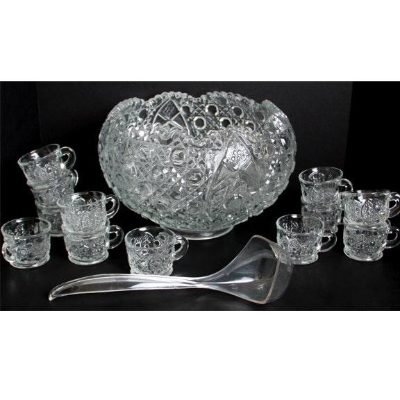 Ornate Glass Punch Bowl Set