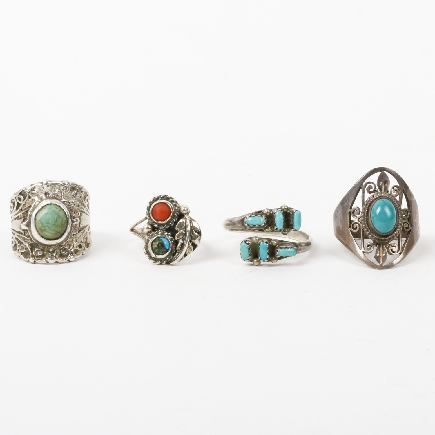 Assortment of Sterling Silver and Stone Rings