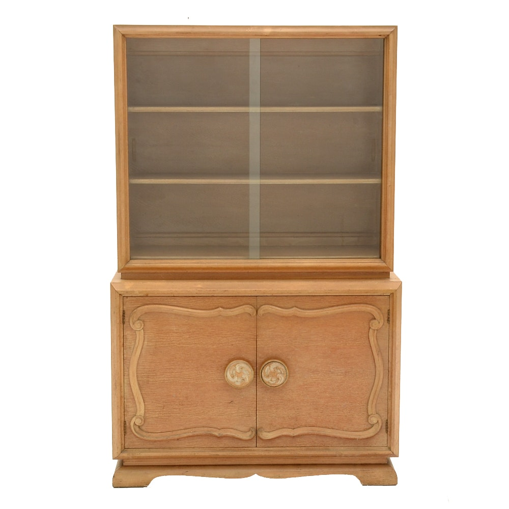 Mid-Century Bleached Oak China Cabinet
