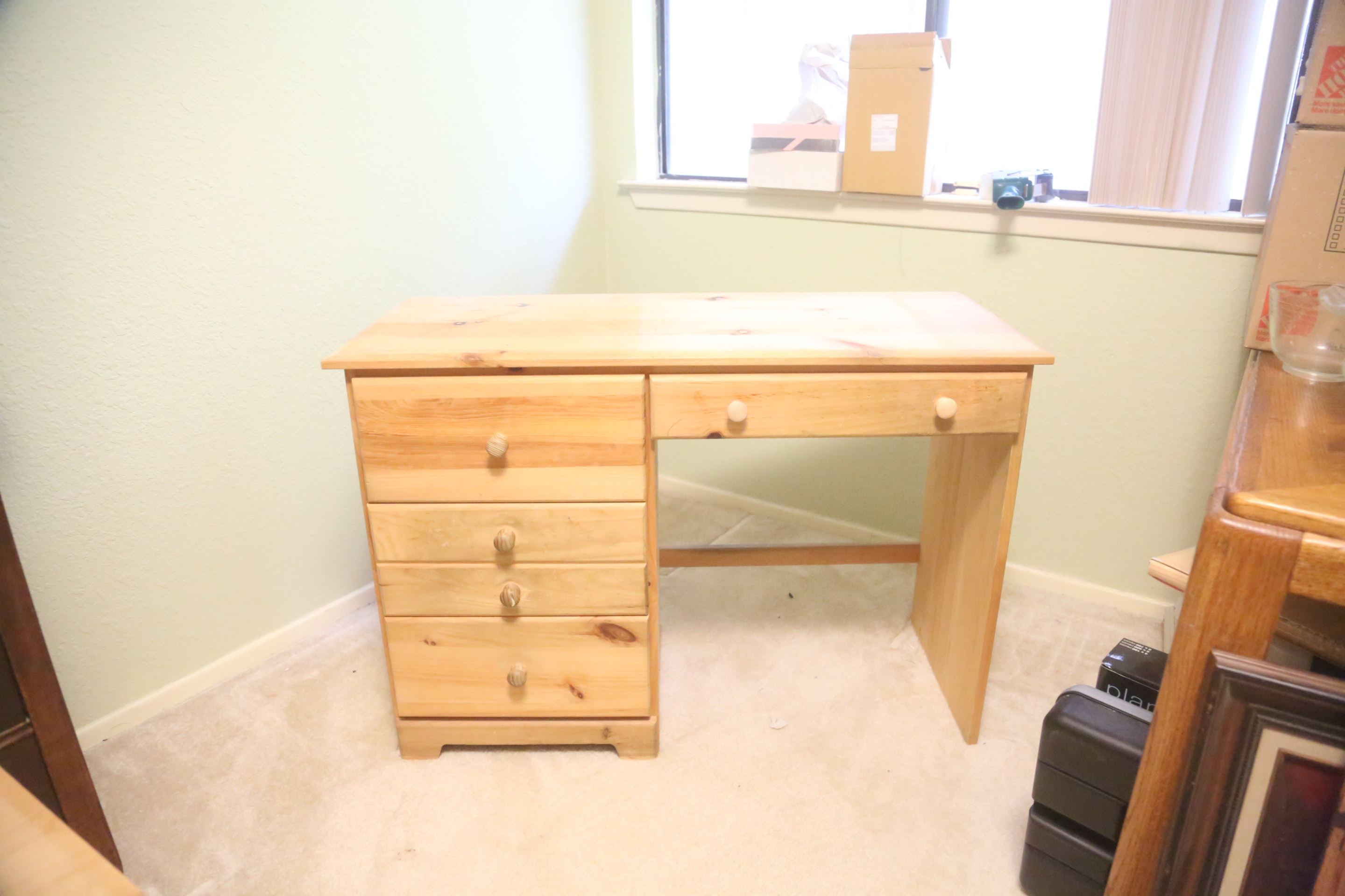 Unfinished Pine Desk with Four Drawers : EBTH