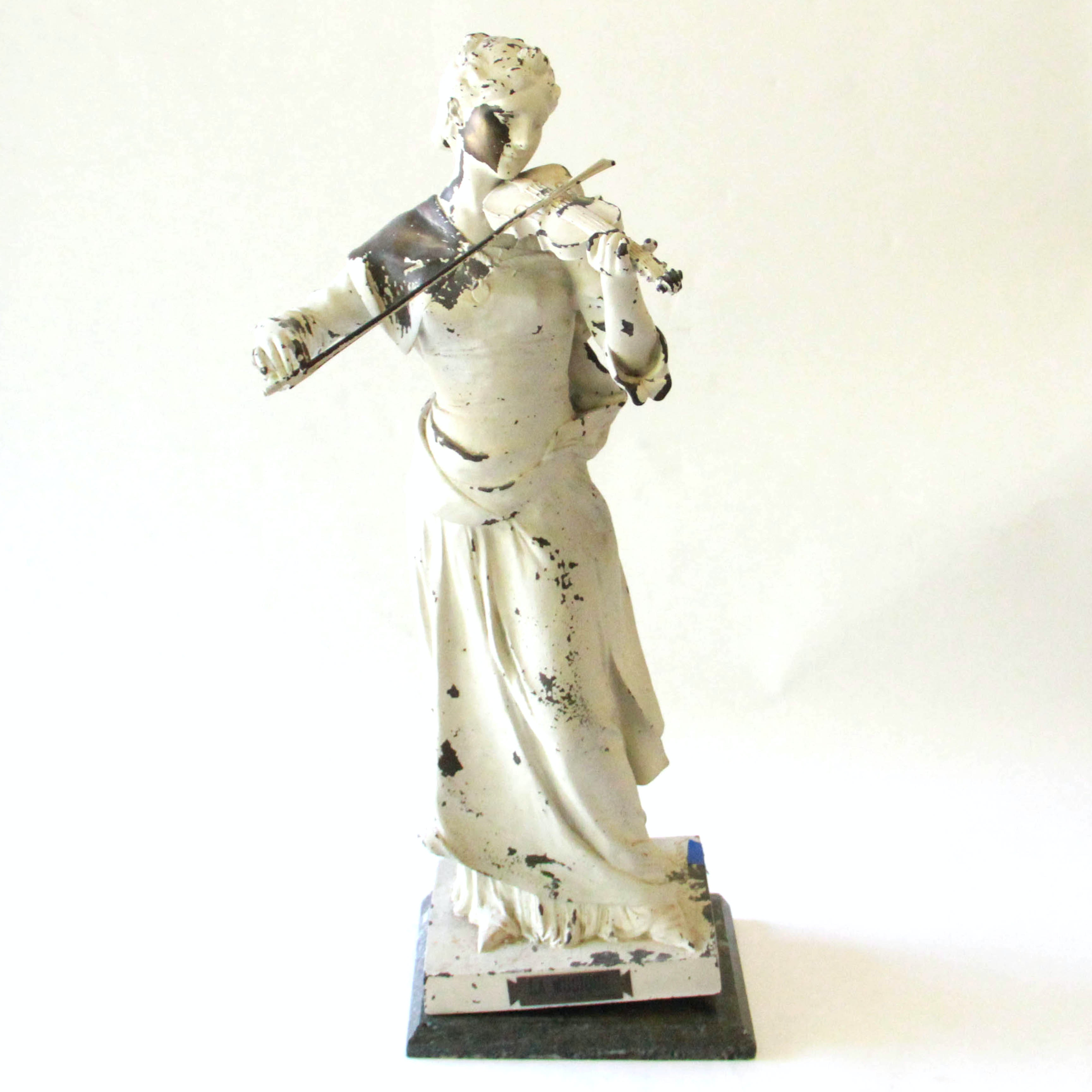 """After Henri Louis LeVasseur Metal Garden Statue """"La Musique """""""